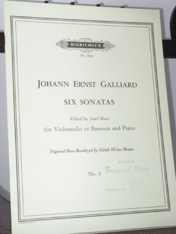 Galliard J E - Sonata No 4 from 6 Sonatas for Bassoon & Piano